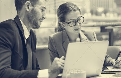 Business People Discussion Laptop Technology Togetherness Concep