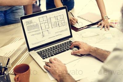 Design Studio Architect Creative Occupation Blueprint Laptop Con