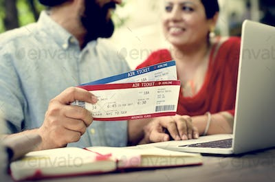Indian Couple Planning Trip Concept