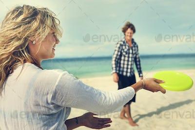 Couple Beach Cheerful Dating Destination Fun Concept
