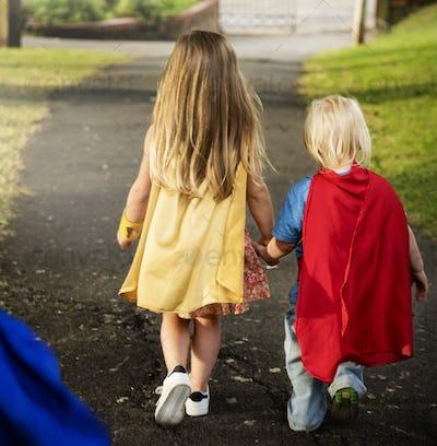 Superheroes Kids Costume Imagination Learning Concept