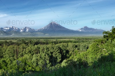 Summer Landscape: View of Volcanoes and Blue Sky on Sunny Day