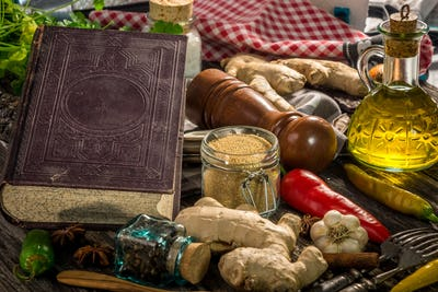 Old cook book with  ingredients