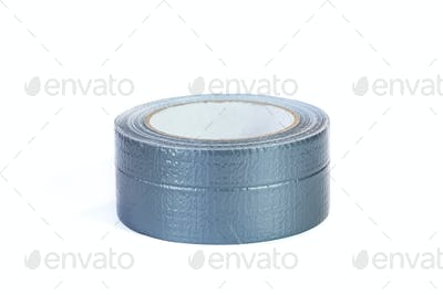 Duct tape roll silver repair reel isolated on white