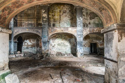 Interior of the abandoned church of All Saints
