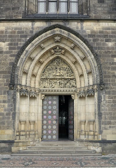 Entrance portal of the church on Vysehrad in Prague with sculptu