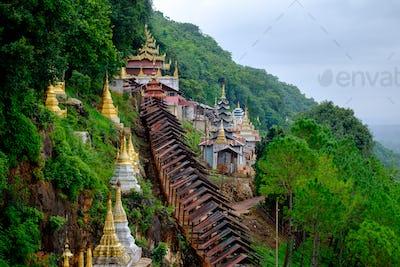 Buddhist pagodas and temple at entrance to Pindaya Caves, Myanmar