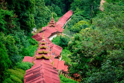 Landscape view of beautiful staircase to Pindaya Caves