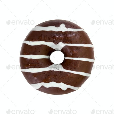 Chocolate donut isolated on white background.