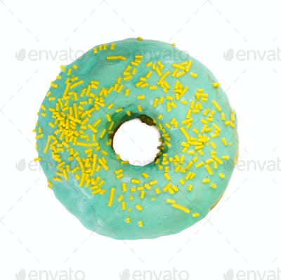 Tasty donut with decorated sprinkles