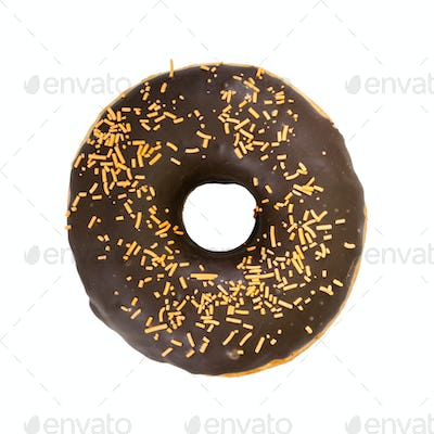 Chocolate donut with decorated sprinkles. Top view.