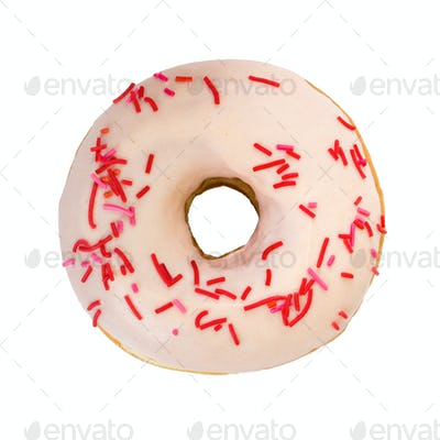 Tasty donut with decorated sprinkles. Top view.