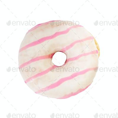 Strawberry donut isolated on white background.