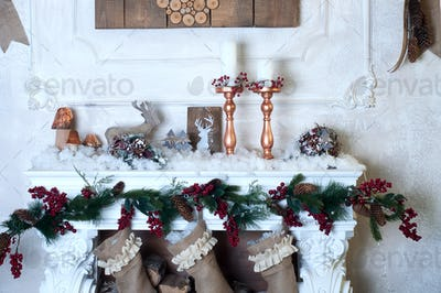 Beautiful fireplace decorated for Christmas