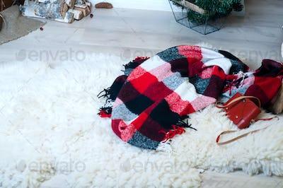 blanket on the floor under the tree