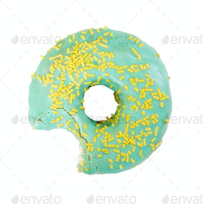 Bitten donut isolated on white background.