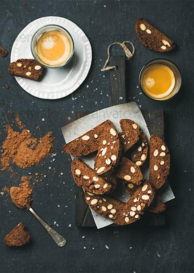 Dark chocolate Biscotti with almonds and coffee espresso