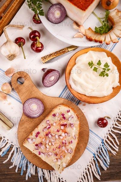 Bread spread with lard