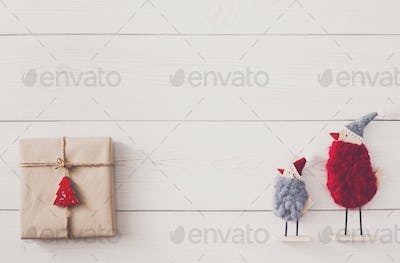 Christmas presents background on white wood