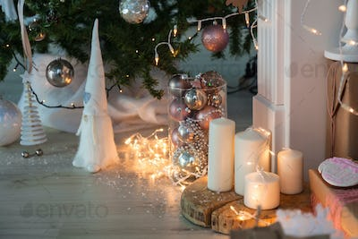 Christmas Decorations with Gingerbread man, candles, dwafr and christmas baubles