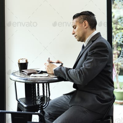 Business Man Working Cafe Concept