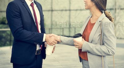Handshake Greeting Corporate Business People Coffee Concept