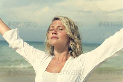 Women Girl Break Beach Outdoor Freedom Concept