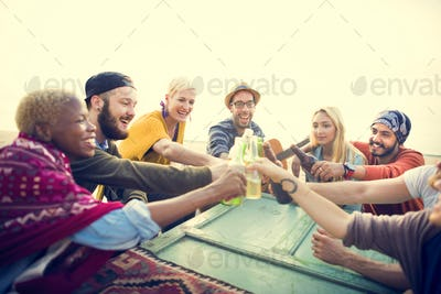 Group Of People Drinking Togetherness Concept