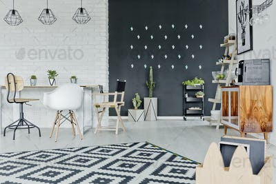 Room with decorative chalkboard wall