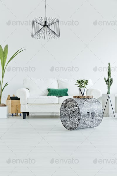 Room with industrial lamp