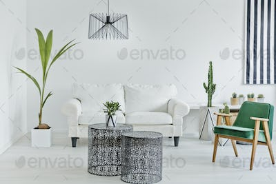 Living room with openwork table
