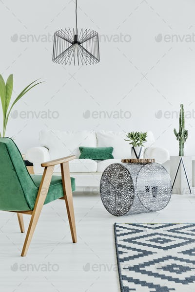Home interior with green chair