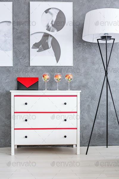 Grey room with white dresser