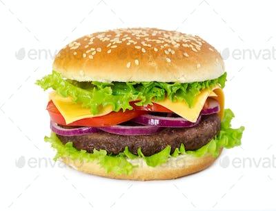Classic hamburger isolated on white background
