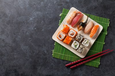 Set of sushi and maki roll