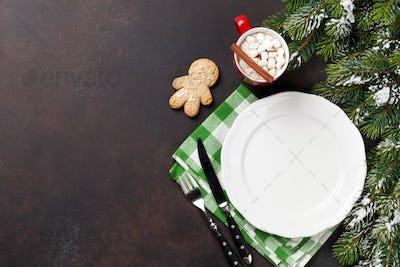 Christmas dinner plate, silverware, fir tree