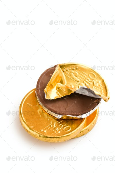 euro currency . chocolate coins