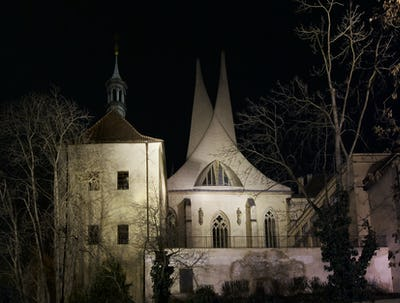 Emauzy monastery at night