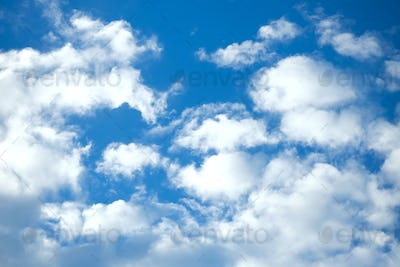 Blue and white clouds for background.