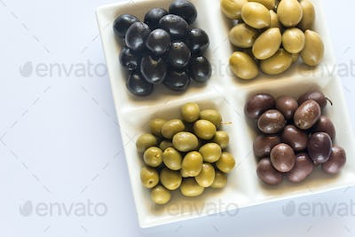 Assortment of olives: top view