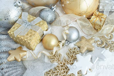 Silver and golden Christmas decorations