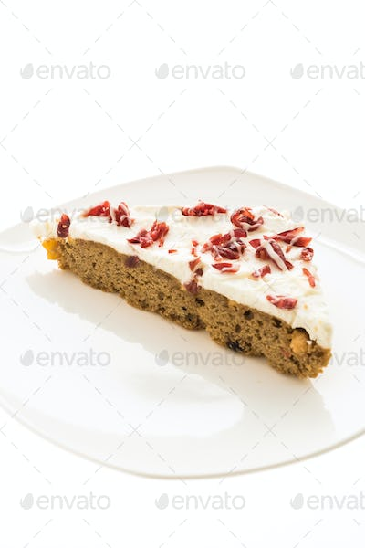 Cranberries pie or cake in white plate