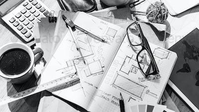 Blueprint Architecture Draft Interior Design Concept