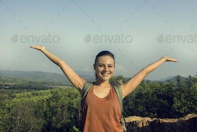 Girl Enjoying Freedom Outdoors Concept