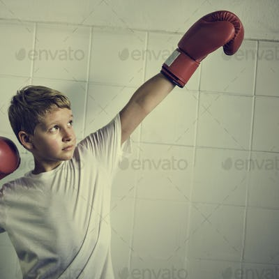 Boy Boxing Victory Confidence Posing Winning Concept