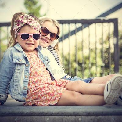 Sister Buddy Fashionable Girls Concept