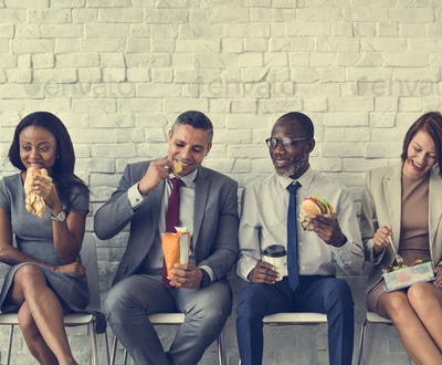 Business Team Working Break Eating Lunch Concept