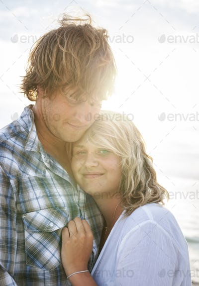 Couple Beach Cheerful Summer Vacation Tropical Concept
