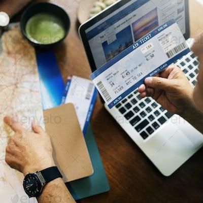 Booking Flight Ticket Business Class Travel Concept