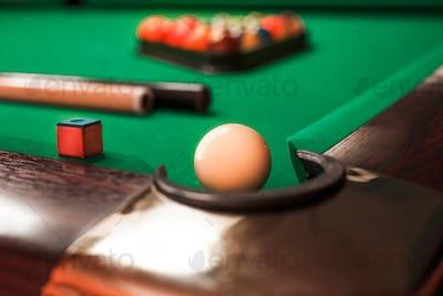 Billiard ball opposite to a pocket.